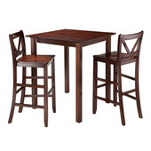 Parkland 3-Pc High Table with 2 Bar V-Back Stools in Walnut