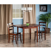 Pulman Collection 3-Piece Set Extension Table with 2 Benjamin Ladder Back Chairs in Walnut, 48-1/32'' W x 29-59/64'' D x 29-19/64'' H