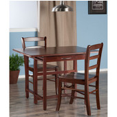 Taylor Collection 3-Piece Set Drop Leaf Table w/ Ladder Back Chairs in Walnut, 41-47/64'' W x 30-1/2'' D x 29-1/8'' H