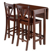 Lynnwood 3-Pc Drop Leaf Table with 2 Counter V-Back Stools in Walnut, 39-3/8''W x 30''D x 35-7/16''H
