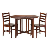 Alamo 3-Pc Round Drop Leaf Table with 2 Hamilton Ladder Back Chairs in Walnut