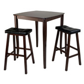 WS-94360, 3-Piece Inglewood High/Pub Dining Table with Cushioned Saddle Stools, Antique Walnut, 33.8'' W x 33.8'' D x 38.9'' H