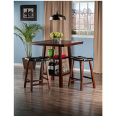 Orlando Collection 3-Piece Set High Table, 2 Shelves with 2 Cushion Seat Stools in Walnut, 33-7/8'' W x 33-7/8'' D x 36-1/16'' H