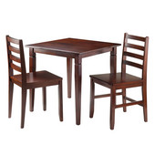 Kingsgate 3-Pc Dinning Table with 2 Hamilton Ladder Back Chairs in Walnut