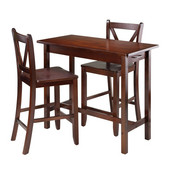 3-Pc Kitchen Island Table with 2 V-Back Stool in Walnut, 40''W x 19-11/16''D x 33-1/4''H
