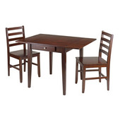 Hamilton 3-Pc Drop Leaf Dining Table with 2 Ladder Back Chairs in Antique Walnut