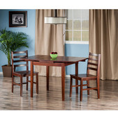Pulman Collection 3-Piece Set Extension Table with 2 Hamilton Ladder Back Chairs in Walnut, 48-1/32'' W x 29-59/64'' D x 29-19/64'' H