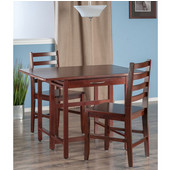 Taylor Collection 3-Piece Set Drop Leaf Table w/ Hamilton Chairs in Walnut, 41-47/64'' W x 30-1/2'' D x 29-1/8'' H