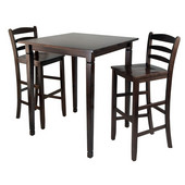 WS-94369, 3-Piece Kingsgate High/Pub Dining Table with Ladder Back High Chairs, Antique Walnut, 33.8'' W x 33.8'' D x 38.9'' H