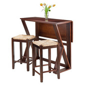 Harrington 3pc Drop Leaf High Table with Two 24'' Rush Seat Stools, Antique Walnut Finish, 39-3/8''W x 31-1/2''D x 36-1/4''H