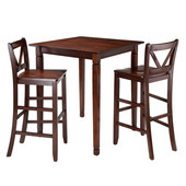 Kingsgate 3-Pc Dining Table with 2 Bar V-Back Chairs in Walnut