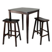 WS-94380, 3-Piece Inglewood High/Pub Dining Table with Saddle Stools, Antique Walnut, 33.8'' W x 33.8'' D x 38.9'' H