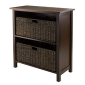 Granville 3-Pc Storage Shelf with 2 Foldable Baskets in Antique Walnut