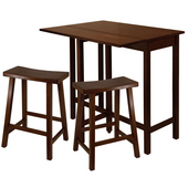 Lynnwood 3-Pc. Set, Includes Drop Leaf High Table and 2- 24'' Saddle Seat Stool