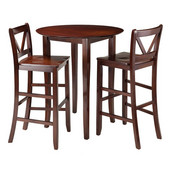 Fiona 3-Pc High Round Table with 2 Bar V-Back Stool in Walnut, 33-11/16''W x 33-11/16''D x 39''H