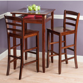 Halo Collection 3-Piece Pub Table Set with 2 Ladder Back Stools in Walnut, 25-19/32'' W x 25-19/32'' D x 42-1/8'' H