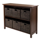 Granville 7-Pc Storage Shelf, 2-section wide with 6 Chocolate Foldable Baskets in Walnut / Chocolate