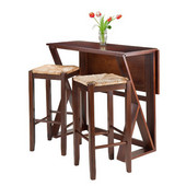 Harrington 3pc Drop Leaf High Table with Two 29'' Rush Seat Stools, Antique Walnut Finish, 39-3/8''W x 31-1/2''D x 36-1/4''H