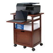 Piper Work Cart / Printer Stand with Key Board, Walnut, 24''W x 17-5/16''D x 29-11/16''H