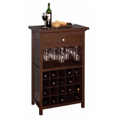 Wine Cabinet with Stemware Storage, 20 Bottle Capacity, 26-3/5'' W x 15-7/10'' D x 40-2/5'' H, Antique Walnut