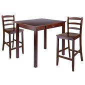 Perrone 3-pc Set High Drop Leaf Table w/2 Ladder Back Counter Stools, Walnut Finish 40''W x 34-4/5''D x 29''H