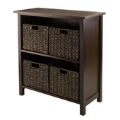 Granville 5pc Storage Shelf , 2-section with 4 Foldable Baskets in Walnut / Chocolate