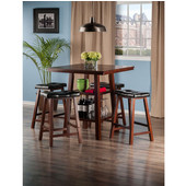 Orlando Collection 5-Piece Set High Table, 2 Shelves with 4 Cushion Seat Stools in Walnut, 33-7/8'' W x 33-7/8'' D x 36-1/16'' H