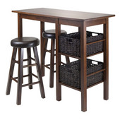Egan 5pc Table with 2 - 24'' Round Cushion Stools and 2 Baskets in Antique Walnut