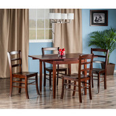 Pulman Collection 5-Piece Set Extension Table with with 4 Ladder Back Chairs in Walnut, 48-1/32'' W x 29-59/64'' D x 29-19/64'' H