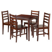 Kingsgate 5-Pc Dining Table with 4 Hamilton Ladder Back Chairs in Walnut