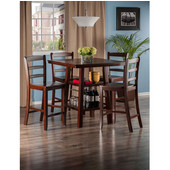 Orlando Collection 5-Piece Set High Table, 2 Shelves with 4 Ladder Back Stools in Walnut, 33-7/8'' W x 33-7/8'' D x 36-1/16'' H