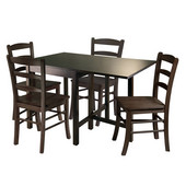WS-94545, Lynden 5-Piece Dining Table with 4 Ladder Back Chairs, Antique Walnut, 48'' W x 30'' D x 29.5'' H