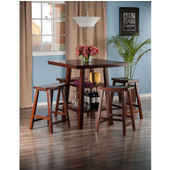 Orlando Collection 5-Piece Set High Table, 2 Shelves with 4 Saddle Seat Stools in Walnut, 33-7/8'' W x 33-7/8'' D x 36-1/16'' H
