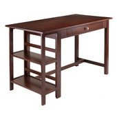 Velda Writing Desk with 2 Shelves in Antique Walnut, 50-1/16''W x 24-1/4''D x 30-9/16''H