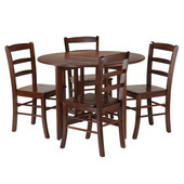 Alamo 5-Pc Round Drop Leaf Table with 4 Ladder Back in Walnut