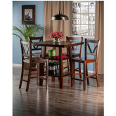 Orlando Collection 5-Piece Set High Table, 2 Shelves with 4 V-Back Counter Stools in Walnut, 33-7/8'' W x 33-7/8'' D x 36-1/16'' H
