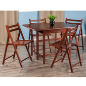 Taylor Collection 5-Piece Set Drop Leaf Table w/ 4 Folding Chairs in Walnut, 41-47/64'' W x 30-1/2'' D x 29-1/8'' H