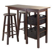 Egan 5pc Breakfast Table with 2 Baskets and 2 Stools in Antique Walnut / Chocolate