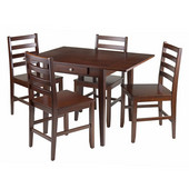 Hamilton 5-Pc Drop Leaf Dining Table with 4 Ladder Back Chairs in Antique Walnut