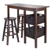 Egan 5pc Table with 2 - 24'' Square Legs Stools and 2 Baskets in Antique Walnut