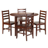 Alamo 5-Pc Round Drop Leaf Table with 4 Hamilton Ladder Back in Walnut