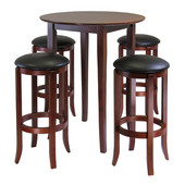 Fiona Round 5-Pc. High/Pub Table Set with PVC Stools, Antique Walnut