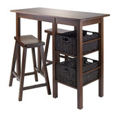 Egan 5pc Table with 2 - 24'' Saddle Seat Stools and 2 Baskets in Antique Walnut
