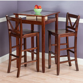 Halo Collection 3-Piece Pub Table Set with 2 V-Back Stools in Antique Walnut, 25-19/32'' W x 25-19/32'' D x 42-1/8'' H