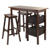 Egan 5pc Breakfast Table with 2 Baskets and 2 Saddle Seat Stools in Antique Walnut / Chocolate