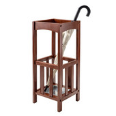 Rex Umbrella Stand with Metal Tray in Walnut, 11''W x 11''D x 26-3/4''H