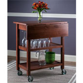 Jonathan Portable Wooden Kitchen Cart in Walnut Finish, 28-1/4'' W x 16-2/3'' D x 33-1/16'' H