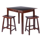 Perrone 3-pc Set High Drop Leaf Table w/2 Saddle Seat Counter Stools, Walnut Finish 40''W x 34-4/5''D x 29''H