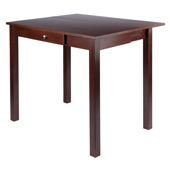 Perrone High Table with Drop Leaf & Drawer, Walnut Finish 40''W x 34-4/5''D x 29''H