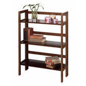 Stackable Three Tier Folding Shelf in Antique Walnut